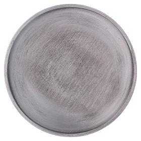 Piatto portacandele tondo ottone argentato opaco s2