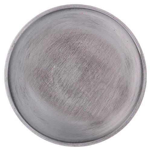 Piatto portacandele tondo ottone argentato opaco 2