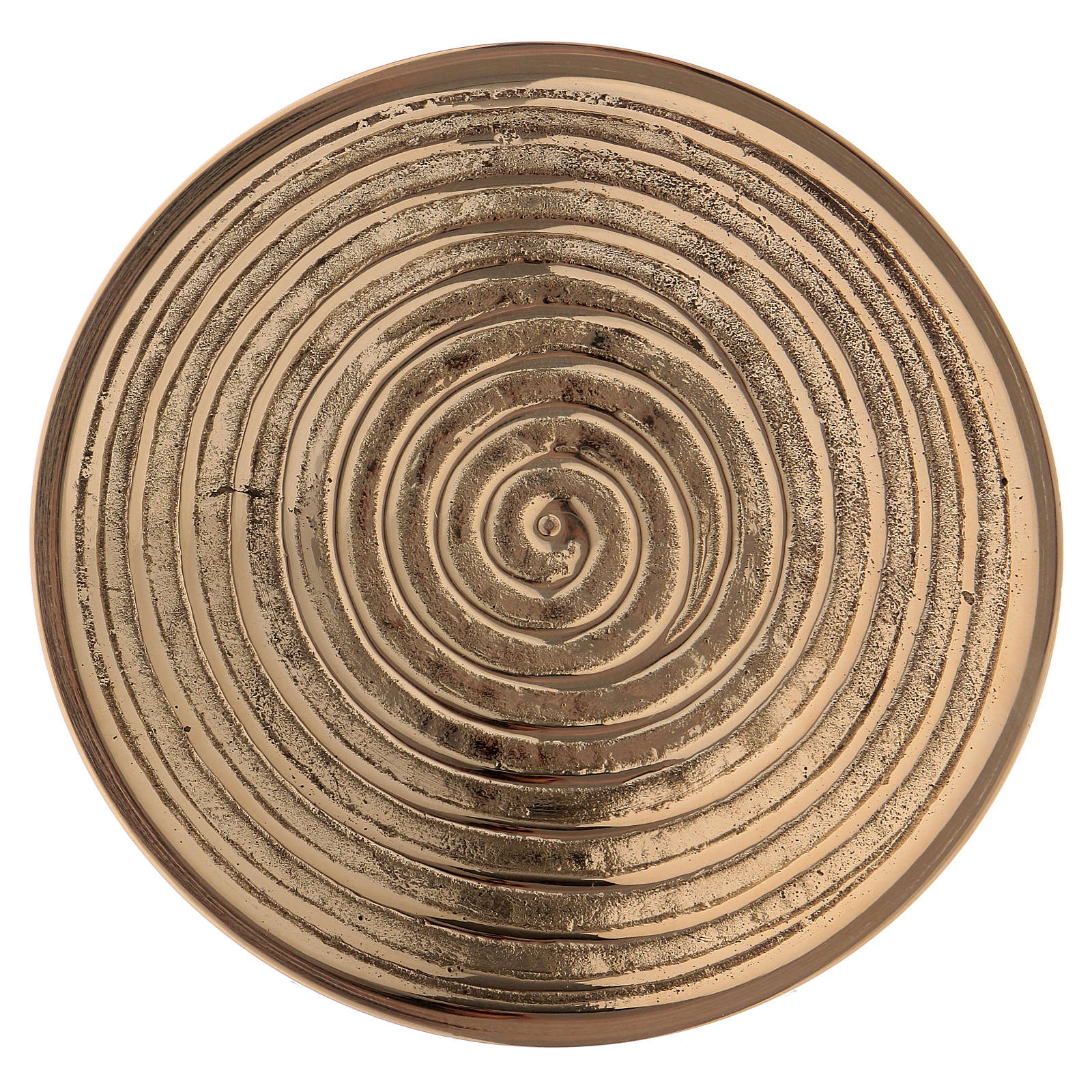 Round candle holder in gold-plated brass with spiral pattern diam. 10 cm 4
