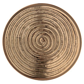 Round candle holder in gold-plated brass with spiral pattern diam. 10 cm s2