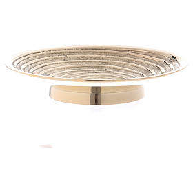 Round candle holder in gold-plated brass with spiral pattern diam. 10 cm s3