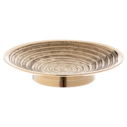 Round candle holder in gold-plated brass with spiral pattern diam. 10 cm 1