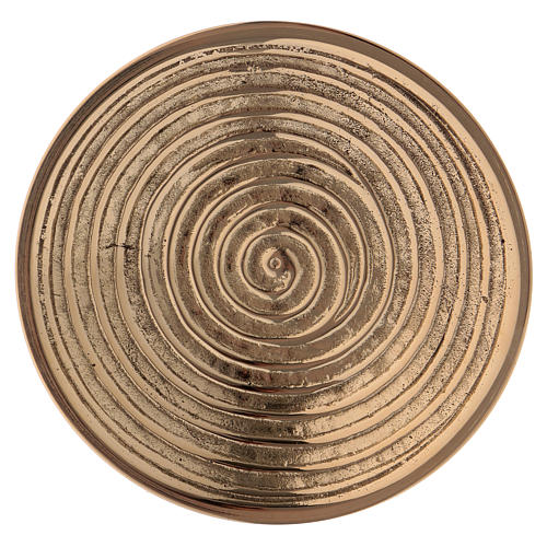 Round candle holder in gold-plated brass with spiral pattern diam. 10 cm 2