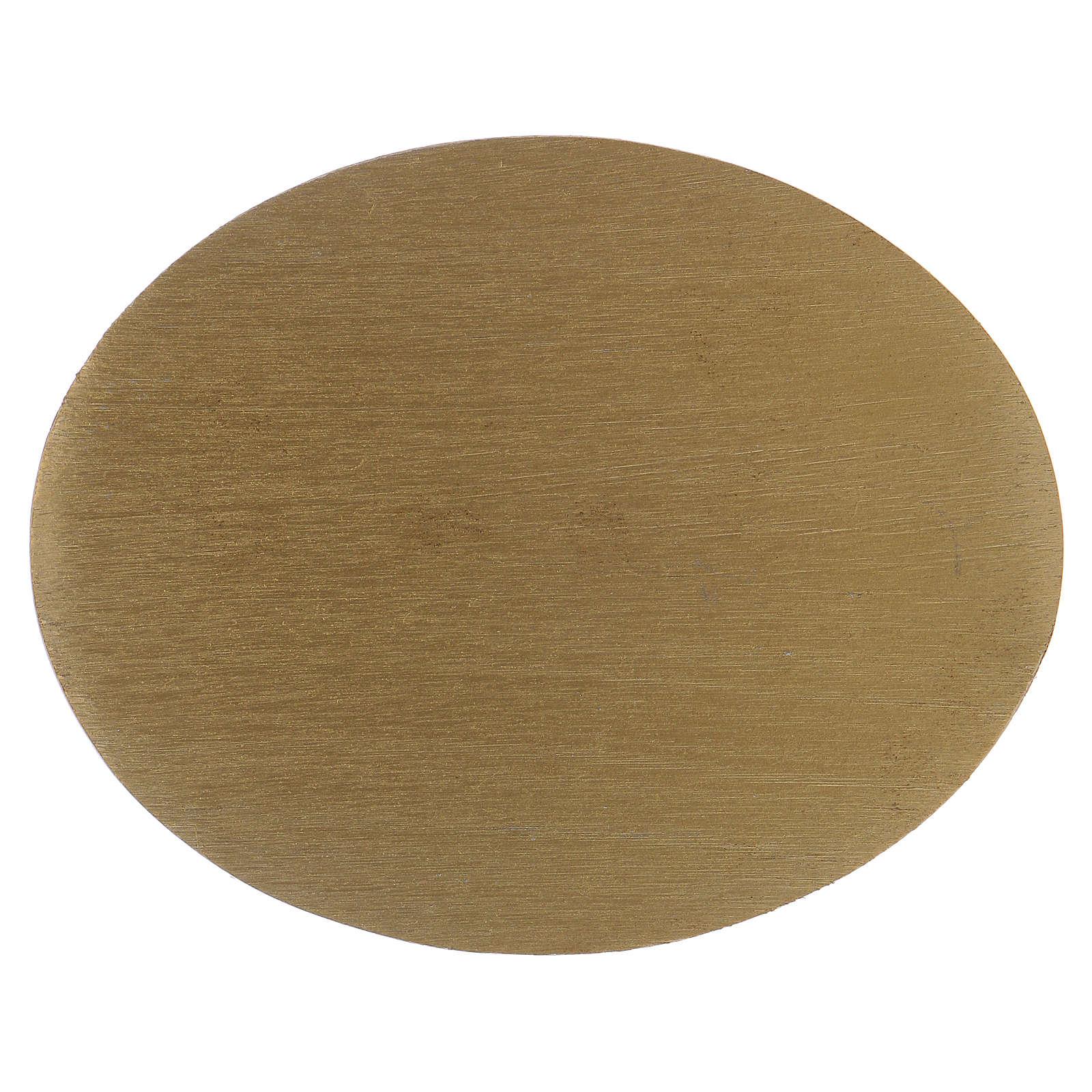 Piatto portacandela ovale in alluminio zigrinato dorato 3