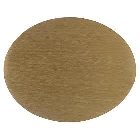 Piatto portacandela ovale in alluminio zigrinato dorato s1