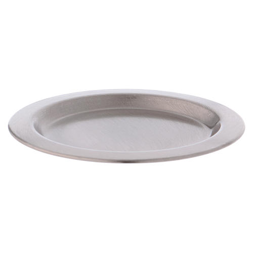 Candle holder plate in satinised silver-plated brass diam. 11 cm 1