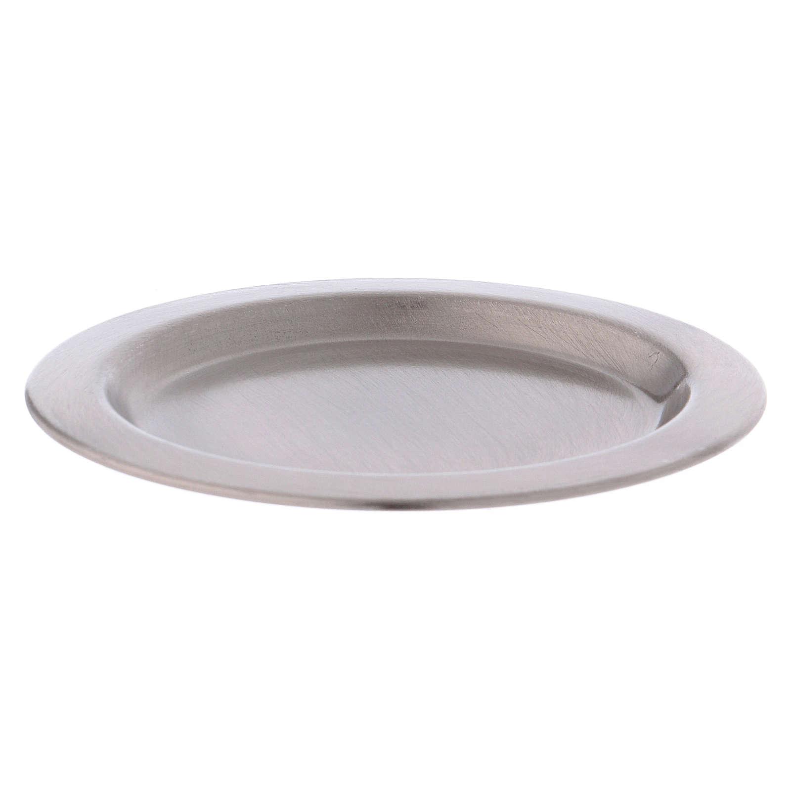 Assiette porte-bougie en laiton argenté satiné 11 cm diamètre 3