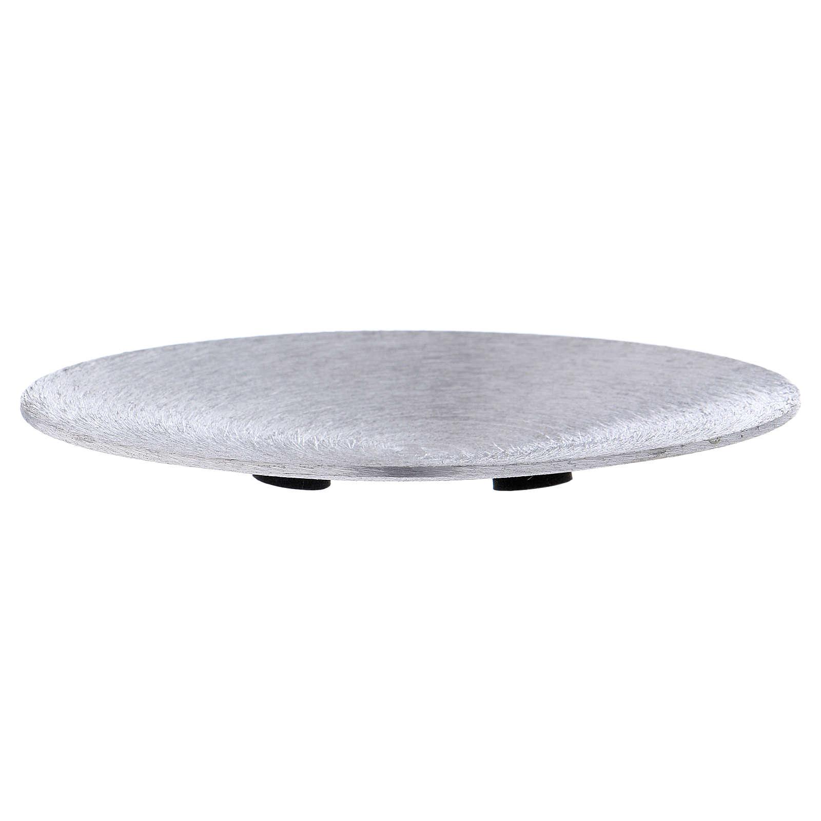 Plato portavela cóncavo aluminio plateado d. 12,5 cm 3