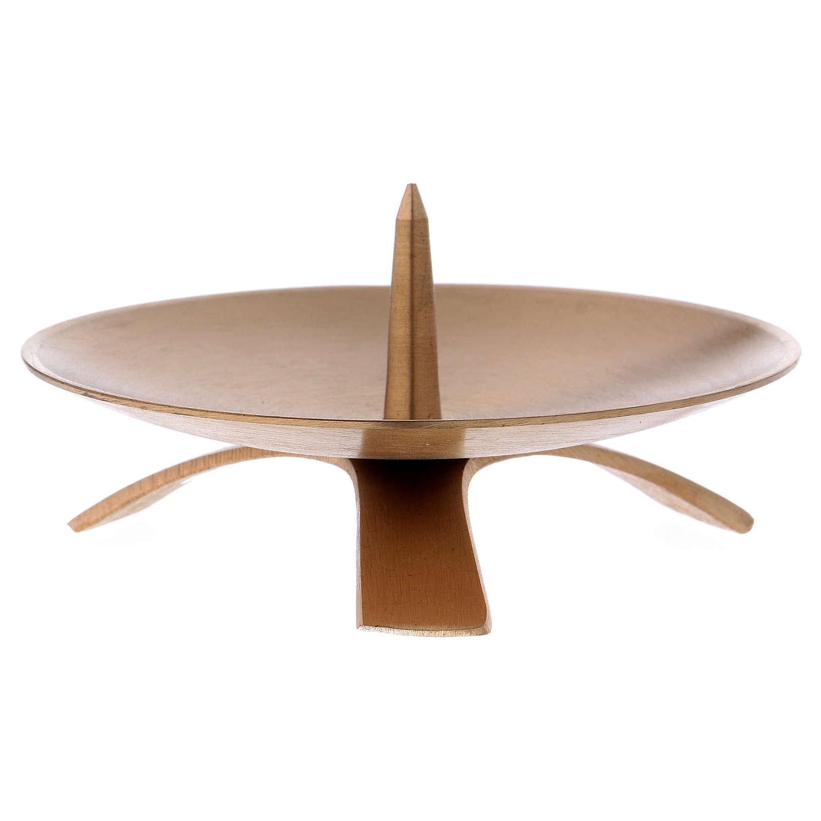 Porta-vela em latão dourado base três pés pino 4