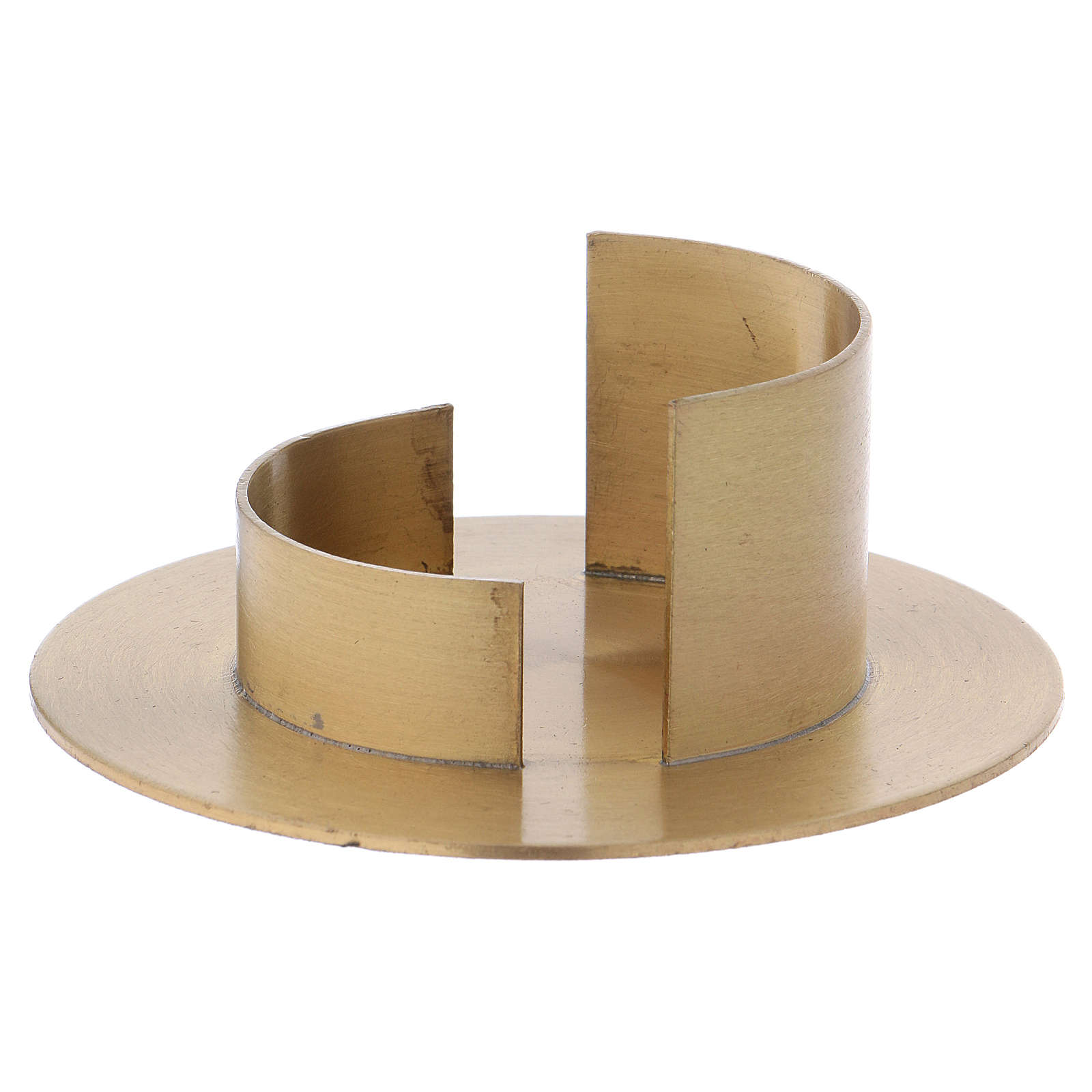 Modern candle holder in satinised gold-plated brass 5 cm 4