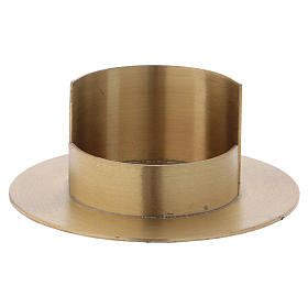 Modern candle holder in satinised gold-plated brass 5 cm s1