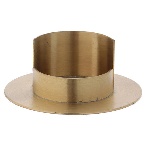 Modern candle holder in satinised gold-plated brass 5 cm 1
