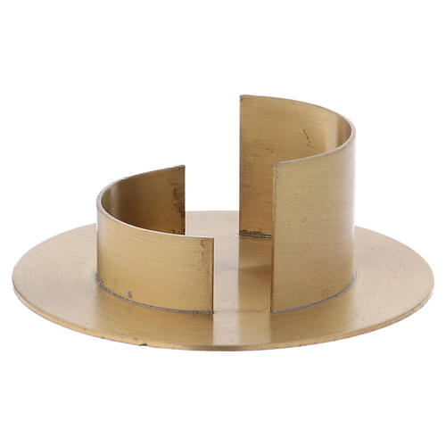 Modern candle holder in satinised gold-plated brass 5 cm 2
