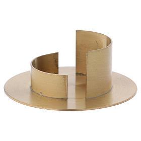 Portacandele ottone dorato satinato moderno diam. 5 cm s2