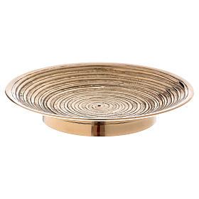 Chandeliers métal: Assiette bougeoir creux avec spirale 12 cm laiton doré