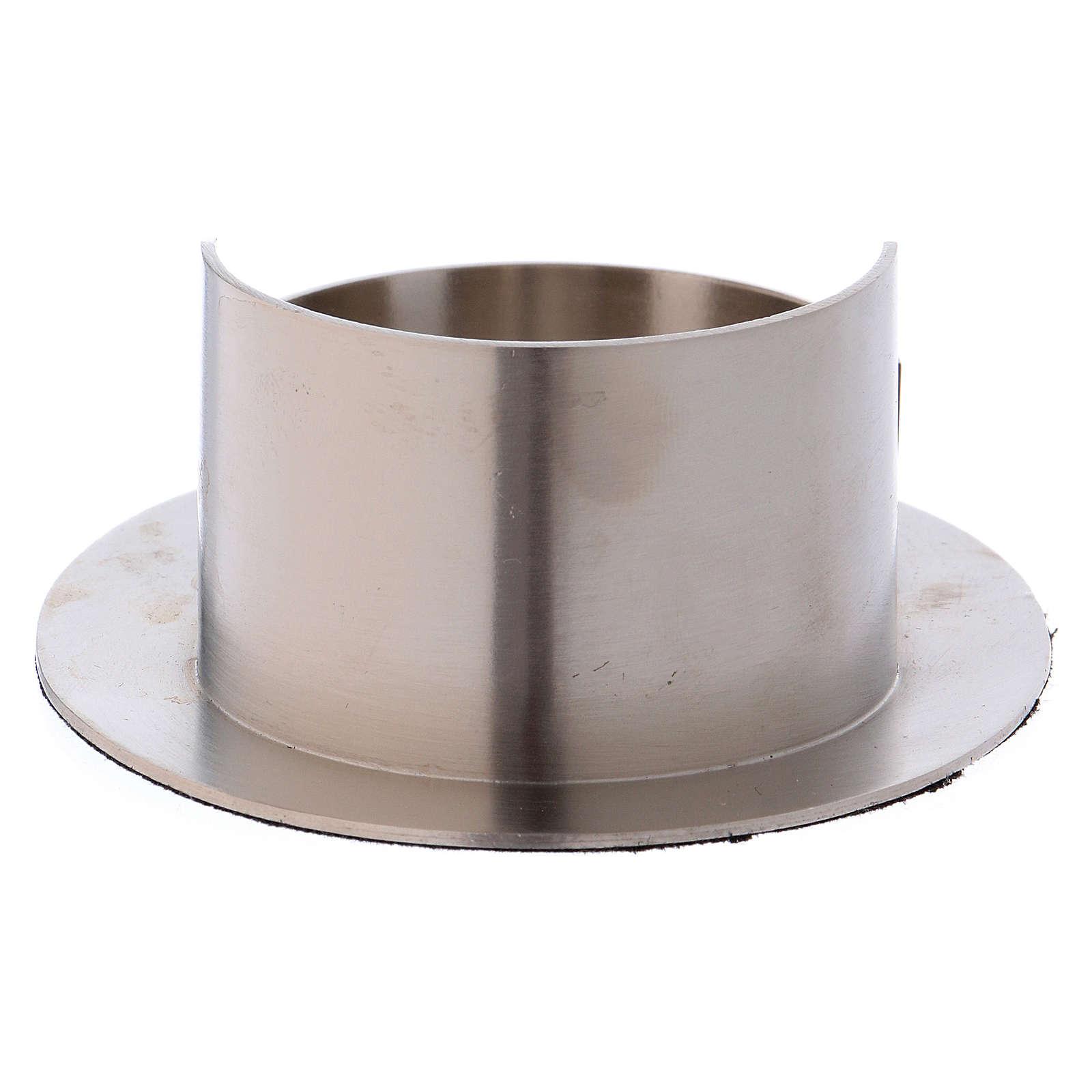 Portacandele tubo ovale ottone argentato satinato  4
