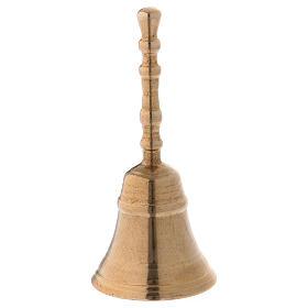 Dzwonek klasyczny z mosiądzu pozłacany błyszczący 12 cm s1