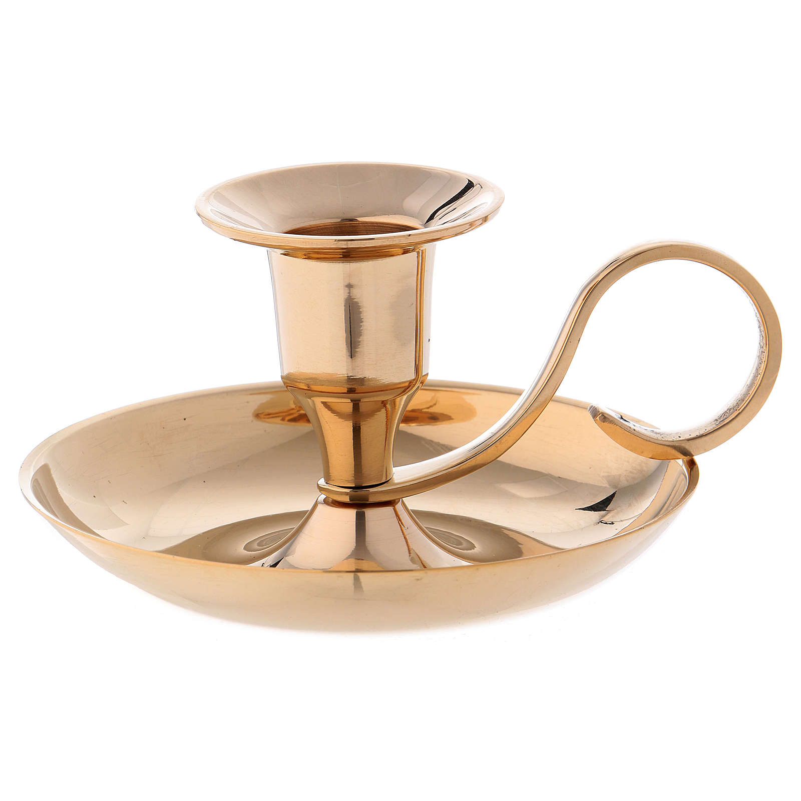 Candle holder in gold-plated brass with 2cm case 4