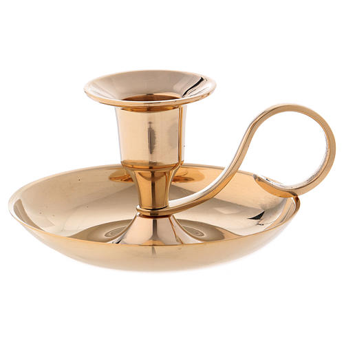 Candle holder in gold-plated brass with 2cm case 1
