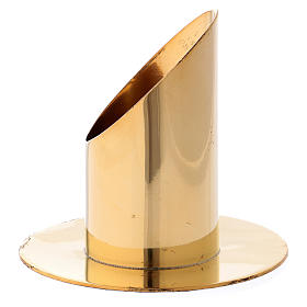 Candle holder in gold-plated brass 9 cm s2