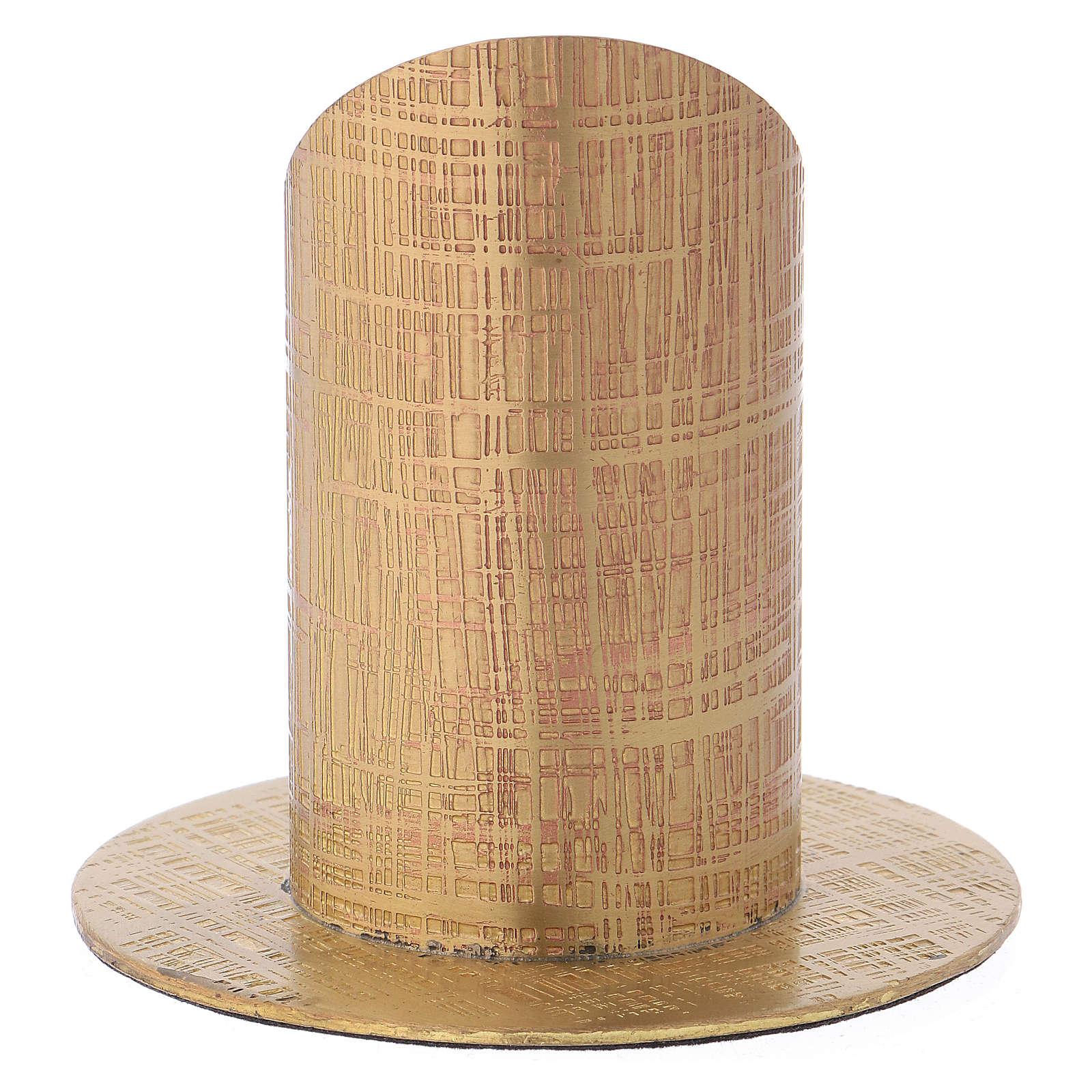 Portavela latón dorado superficie tallada 4