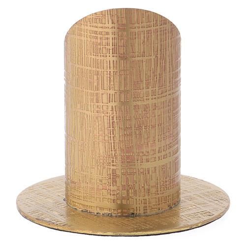 Portavela latón dorado superficie tallada 3