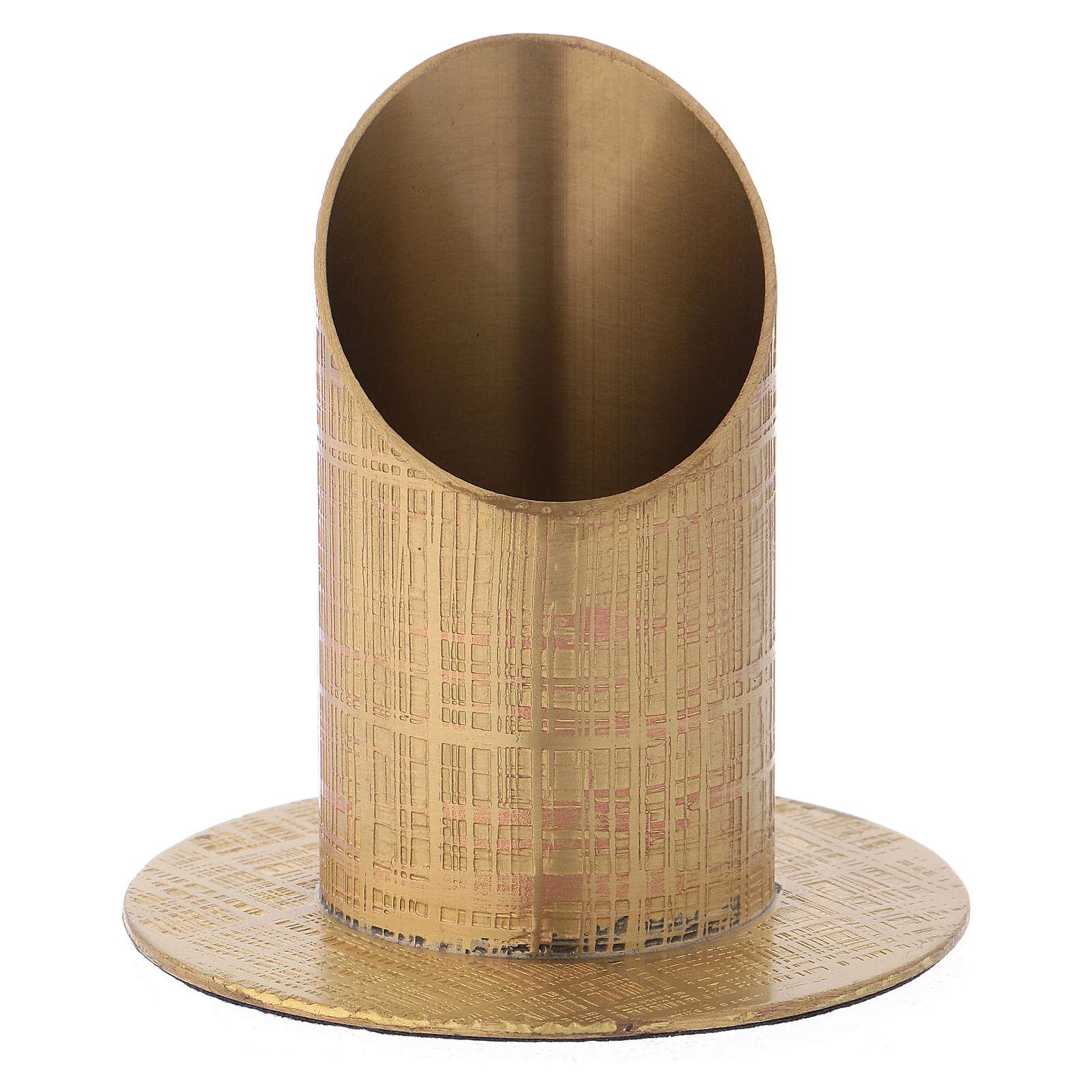 Portacandela ottone dorato superficie incisa 4