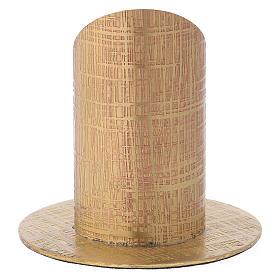 Portacandela ottone dorato superficie incisa s3