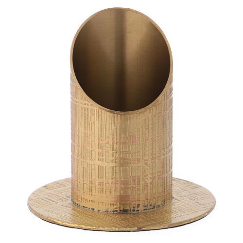 Portacandela ottone dorato superficie incisa 1