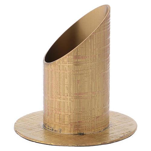 Portacandela ottone dorato superficie incisa 2
