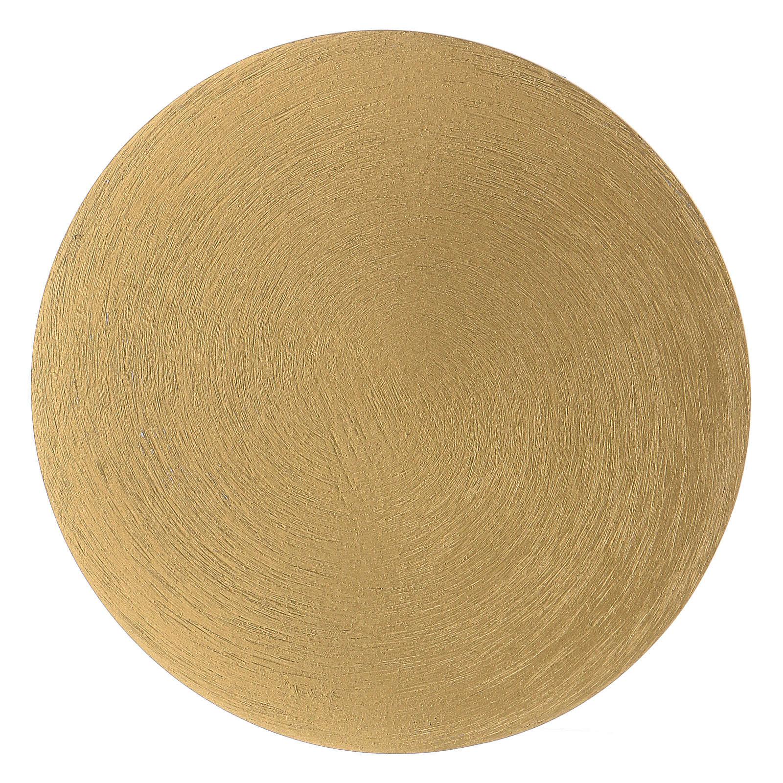 Plato portavela redondo de latón dorado 10 cm 3