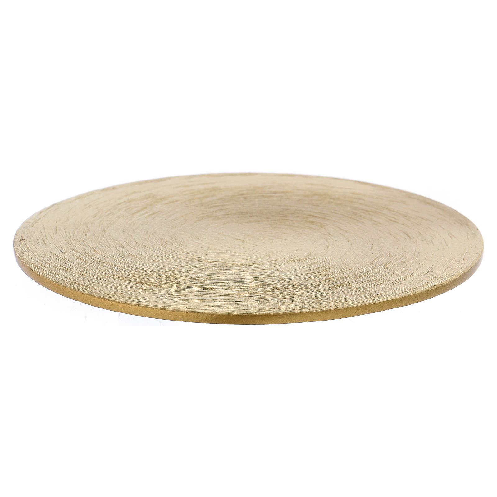 Piattino portacandele rotondo in ottone dorato 10 cm 3