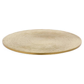 Piattino portacandele rotondo in ottone dorato 10 cm s1