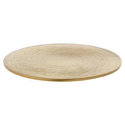 Piattino portacandele rotondo in ottone dorato 10 cm 1