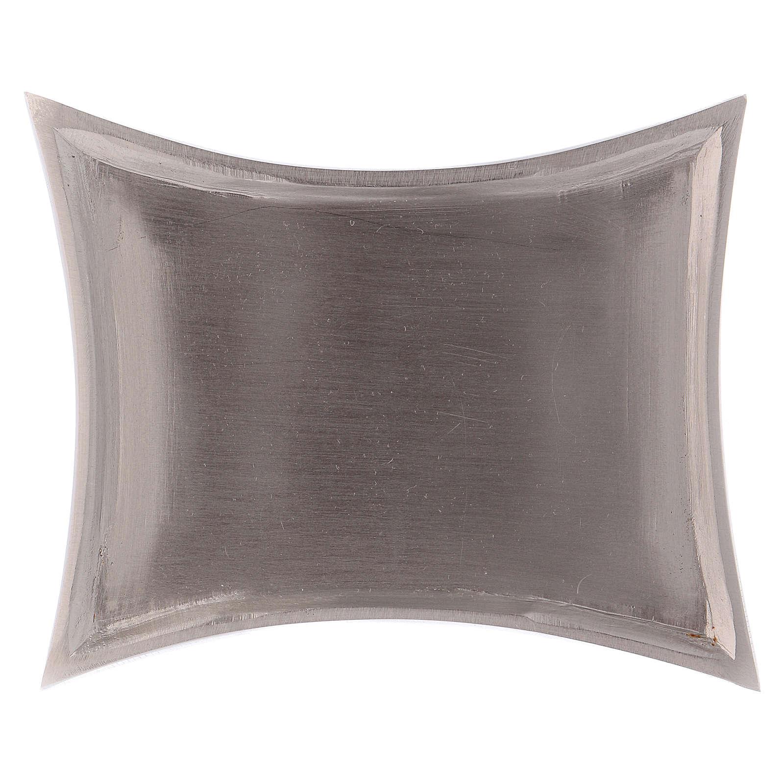 Piattino portacandele rettangolare lati curvi ottone argentato 11x7 cm 3