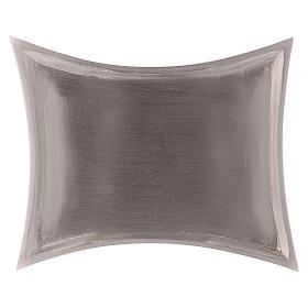 Piattino portacandele rettangolare lati curvi ottone argentato 11x7 cm s3