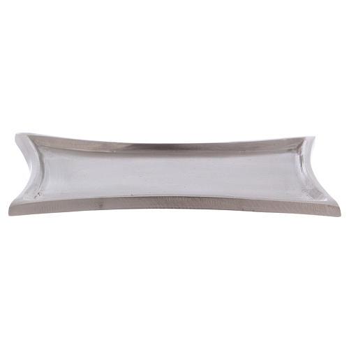 Piattino portacandele rettangolare lati curvi ottone argentato 11x7 cm 1