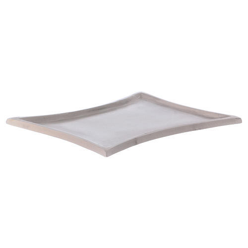 Piattino portacandele rettangolare lati curvi ottone argentato 11x7 cm 2