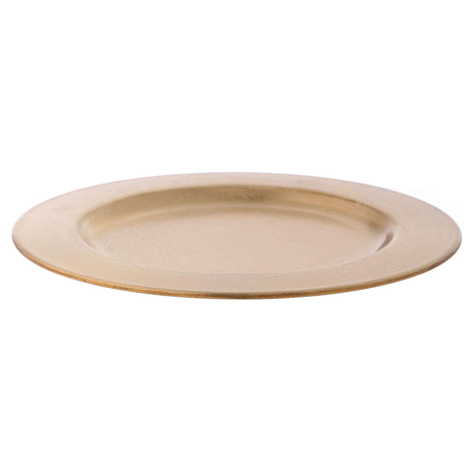 Plato portavela redondo de latón dorado d. 14 cm 3