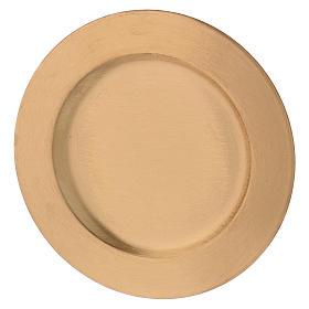 Plato portavela redondo de latón dorado d. 14 cm s2