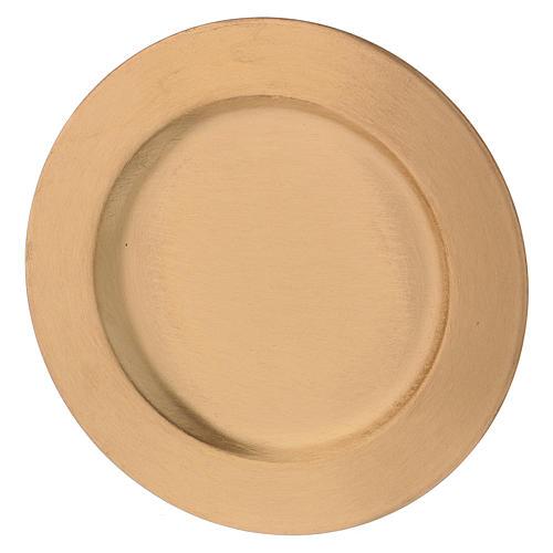 Plato portavela redondo de latón dorado d. 14 cm 2