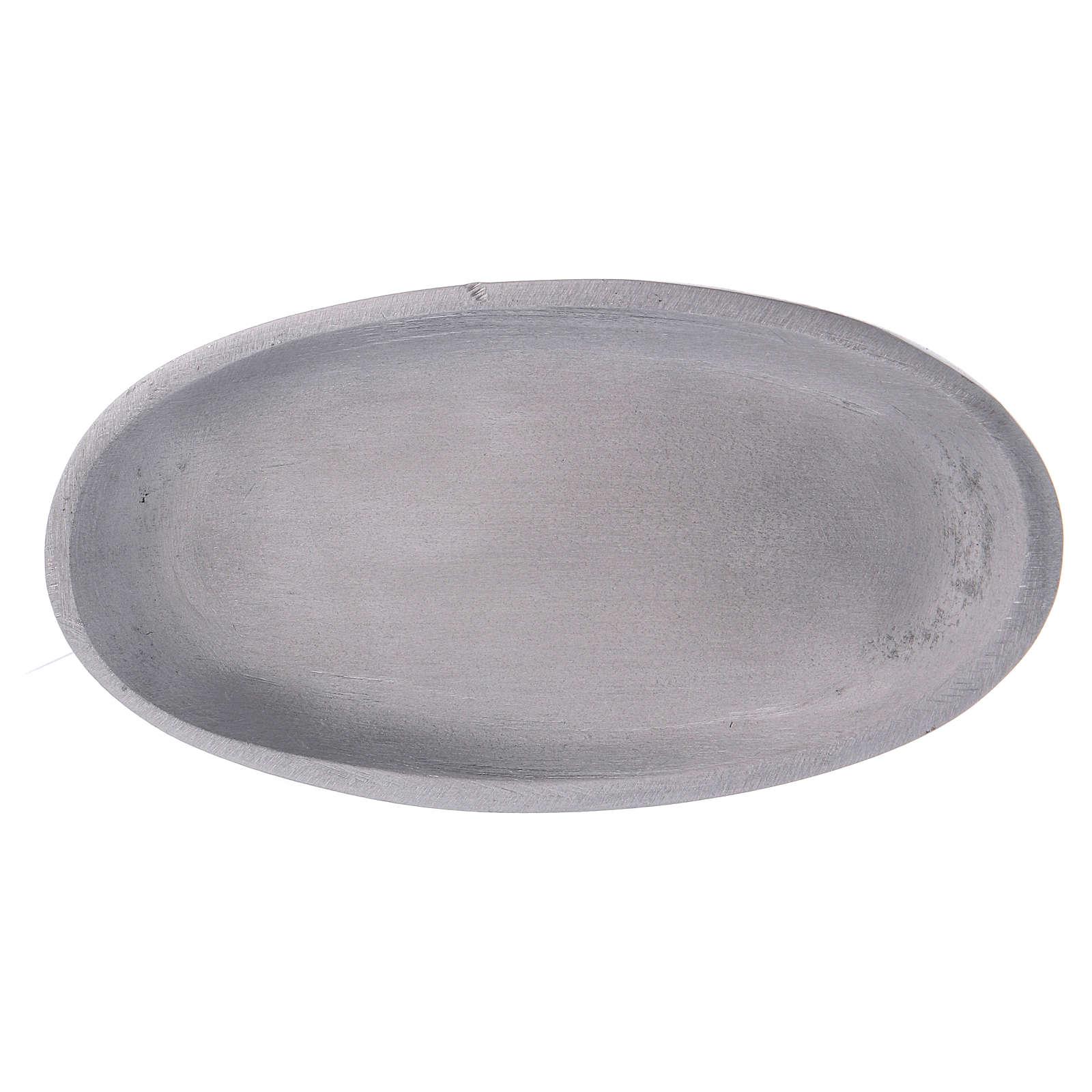 Piattino portacandele ovale in alluminio argentato opaco 12x6 cm 3
