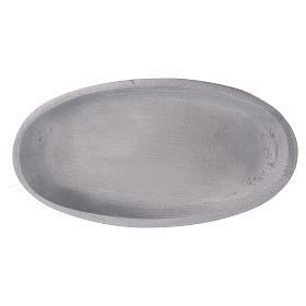 Piattino portacandele ovale in alluminio argentato opaco 12x6 cm s3