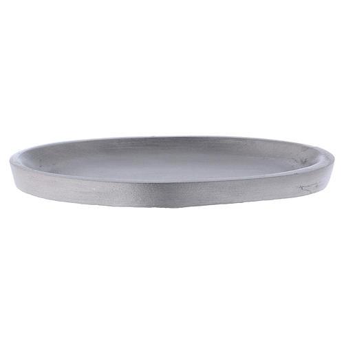 Piattino portacandele ovale in alluminio argentato opaco 12x6 cm 1