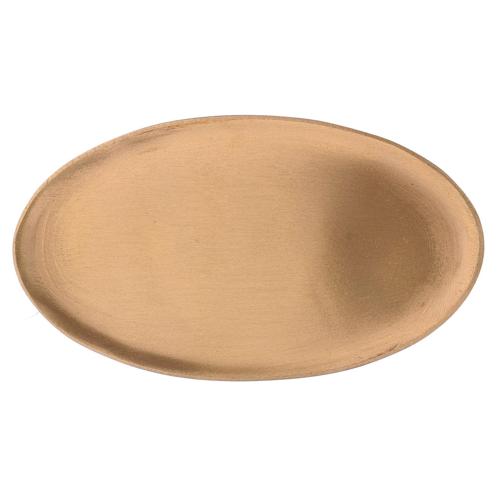 Piattino portacandele ovale in ottone dorato opaco 17x10 cm 3