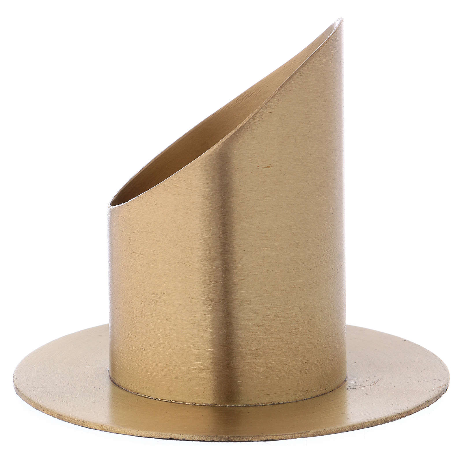 Portacandele forma cilindrica ottone dorato opaco per candela 5 cm 4