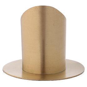 Portacandele forma cilindrica ottone dorato opaco per candela 5 cm s3