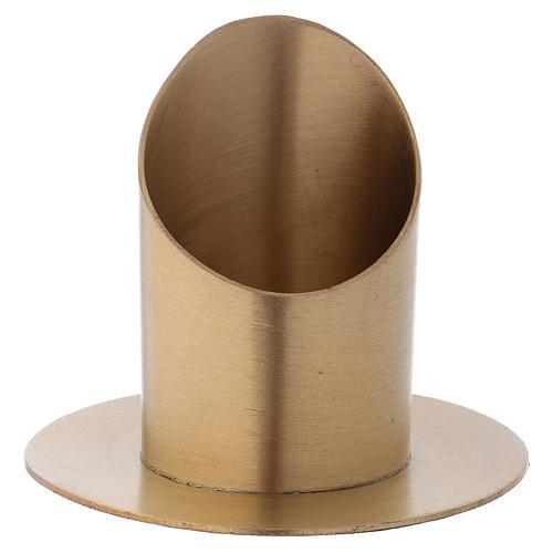 Portacandele forma cilindrica ottone dorato opaco per candela 5 cm 1