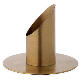 Portacandele forma cilindrica ottone dorato opaco per candela 3 cm s2