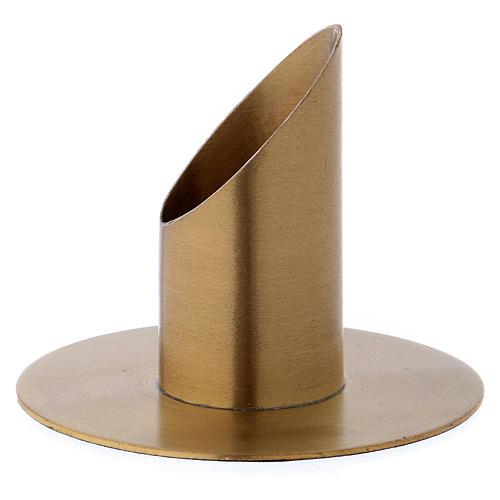 Portacandele forma cilindrica ottone dorato opaco per candela 3 cm 2